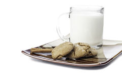 Molasses cookie with milk Royalty Free Stock Images
