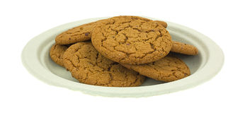 Molasses Cookies On Green Paper Plate Royalty Free Stock Photos