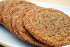 Molasses Sugar Cookies. Close Up of a Row of Brown Sugar Cookies Royalty Free Stock Images