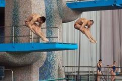 A Molchanov und S Nikolaev-Sprung Stockbilder