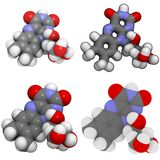 Molécula da vitamina B2 (riboflavin) Fotos de Stock Royalty Free