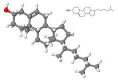Molécula del colesterol con fórmula química Fotos de archivo