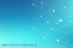 Molécula gráfica geométrica e comunicação do fundo Complexo grande dos dados com compostos Alinha o plexo, disposição mínima Fotos de Stock Royalty Free