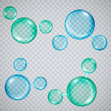 Moléculas de agua transparentes en un verde y un azul del fondo de la tela escocesa Imagen de archivo