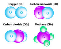 Moléculas metano, oxígeno, carbón Imagenes de archivo