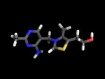 Molécule de la vitamine B1 Photographie stock libre de droits