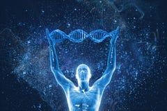 Molécules et hommes d'ADN Photographie stock libre de droits