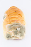 Mold on bread. On white Stock Photo