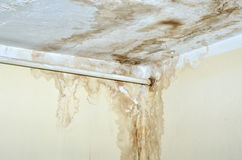 Mold on the ceiling and rusty pipe on the wall Stock Photography