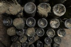 Mold, cobweb and dust on vintage wine bottles in an underground cellar. Dusty old wines in rack, in an old winery stock photos