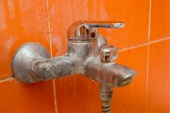Mold, Fungus and limescale on the bathroom faucet. royalty free stock photo