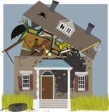 Mold infestation. Mold monster creeping on a house, bursting with junk, vector illustration, no transparencies, EPS 8 vector illustration