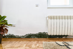 Mold and moisture buildup on wall of a modern house Stock Image