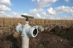 Moldação da paisagem do Faucet da irrigação imagens de stock