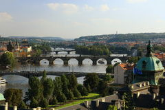 Moldau and Bridges, Charles Bridge, Panorama of the Lesser Town, Prague, Czech Republic Stock Images