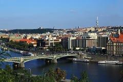 Moldau e ponti, panorama di Città Vecchia, Praga, repubblica Ceca Fotografia Stock Libera da Diritti