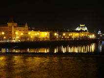 Moldau passing Prague. Winter night in Czech capital Prague, view to National Theatre Stock Photography