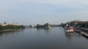 Moldau - Prague. River, boat, nature Royalty Free Stock Photo