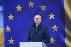 Moldauischpremierminister Pavel Filip an der Einweihung neuer ukrainischer Grenze Palanca Moldovans lizenzfreies stockbild