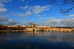 Moldava river, Prague. Beautiful view on river of Prague. It`s a november`s sunny day, the weather was windy and cold, but this charming city warmed me Stock Photo
