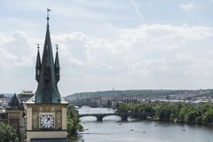 Moldava river in Prague. A panoramic view of Moldava river in Prague, Czeche Republic Stock Photography