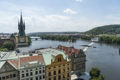 Moldava river in Prague. A panoramic view of Moldava river in Prague, Czeche Republic Royalty Free Stock Image