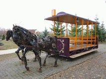 20 11 2016, Moldavië, Chisinau: Monument aan paardtram Royalty-vrije Stock Afbeeldingen