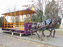 20 11 2016, Moldavië, Chisinau: Monument aan paardtram Stock Foto
