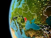 Moldavië van ruimte in avond Stock Fotografie