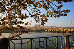 Moldavia in autumn. View from the Smetanovo nabr. along Charles bridge towards Hradcany Castle stock photo