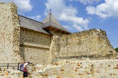 Moldavia citadel kings visitor at Targu Neamt Stock Photos