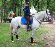 14 05 2016, Moldavia, poliziotto di signora su un cavallo bianco in un parco Fotografia Stock