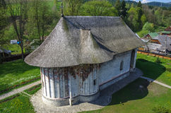 Moldavian medieval Monastery of Humor, up view of the church. Royalty Free Stock Images