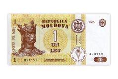 Moldavian Money. One Leu Moldavian Banknote Isolated on a white background Stock Images