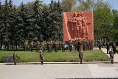 Moldavian soldier on Victory Day. 9 may 2010. Veteran attending the 65th anniversary of the Victory Day in Chishinau, Republic of Moldova. Moldavian soldier Stock Images