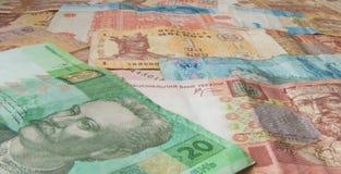 Moldavian and Ukrainian money, hryvna and leu. Pattern made of Moldavian and Ukrainian money Royalty Free Stock Photo