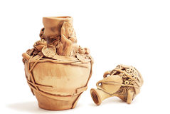 Moldavian vases. Clay traditional Moldavian vases on white background Stock Image