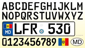Moldavien bilplatta, bokstäver, nummer och symboler, Europa vektor illustrationer