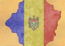 Moldavien flaggaabstrakt begrepp i betong för agg för fasadstruktur stor skadad royaltyfria foton