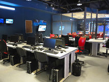 05 04 2015 MOLDAVIEN, kontor för studio för television för Publika TVNYHETERNA Arkivbilder