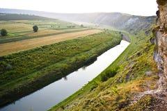 Moldavien. Orheiul Vechi. Flod Raut. Trebujeni Fotografering för Bildbyråer
