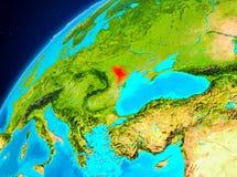 Moldavien på jord från utrymme Royaltyfria Foton