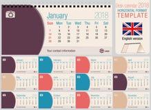 Molde 2018 útil do calendário do triângulo da mesa com o espaço para colocar fotos Tamanho: 220mm x 100mm Formato horizontal ilustração royalty free