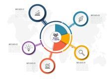 Molde abstrato das opções do infographics cinco Ilustração do vetor pode ser usado para a disposição dos trabalhos, diagrama Imagem de Stock