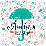 Molde abstrato do cartão do outono com redemoinhos Fotos de Stock