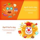 Molde ajustado da bandeira de April Fools Day, estilo dos desenhos animados Imagens de Stock