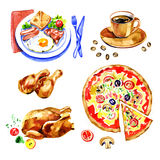 Molde ajustado do projeto do logotipo da aquarela fresca do fast food Imagem de Stock Royalty Free