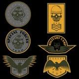 molde ajustado do projeto do vetor do emblema militar Imagem de Stock