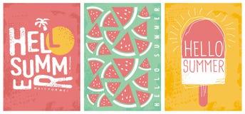 Molde artístico criativo das bandeiras e dos cartazes da alegria do verão ilustração stock
