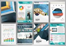 Molde azul do folheto do negócio com elementos infographic Fotografia de Stock Royalty Free